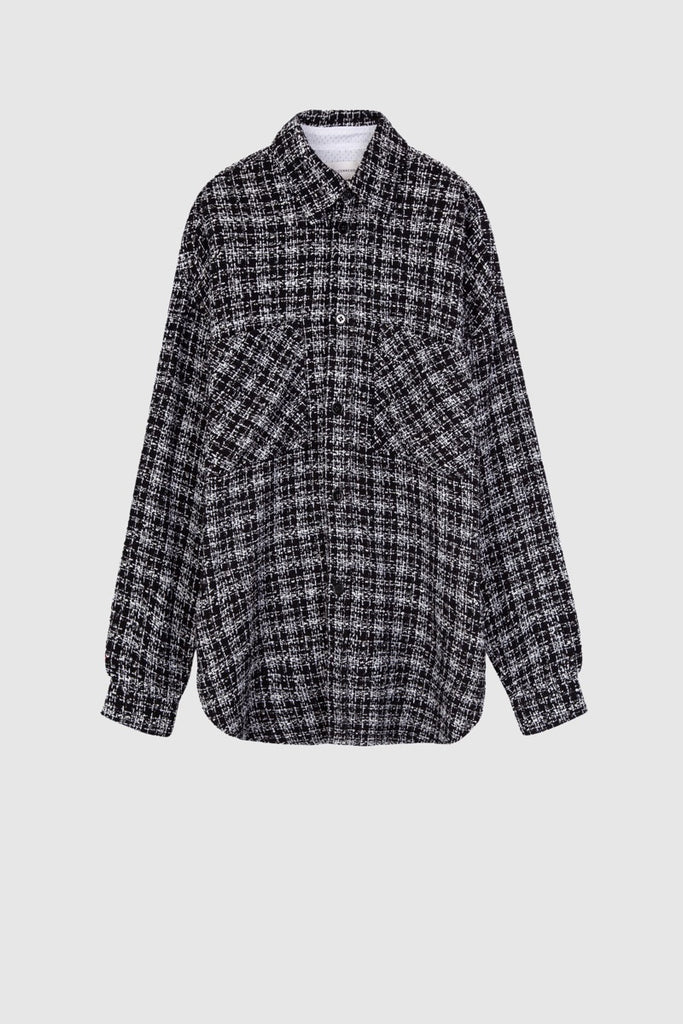 BLACK TWEED OVERSIZE SHIRT - Faith Connexion