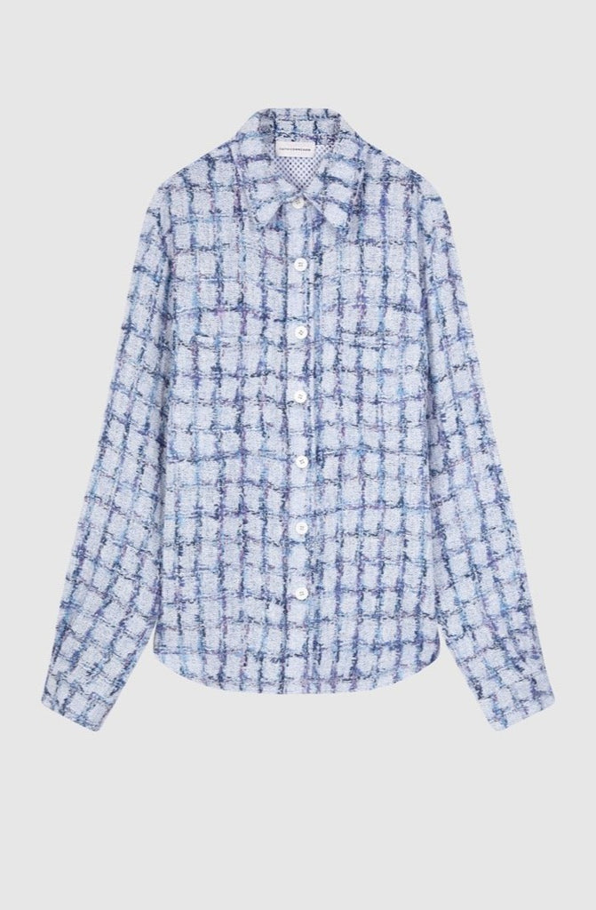 LAVENDER TWEED FITTED OVERSHIRT - Faith Connexion