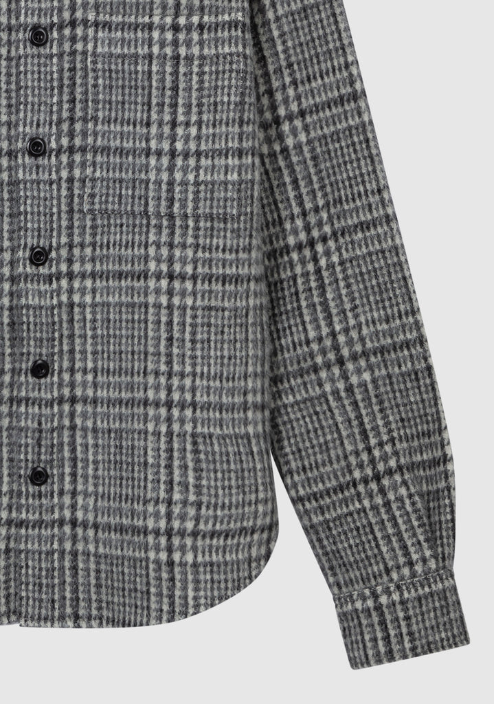 OVERSIZED TWEED SHIRT JACKET - Light Grey - Faith Connexion