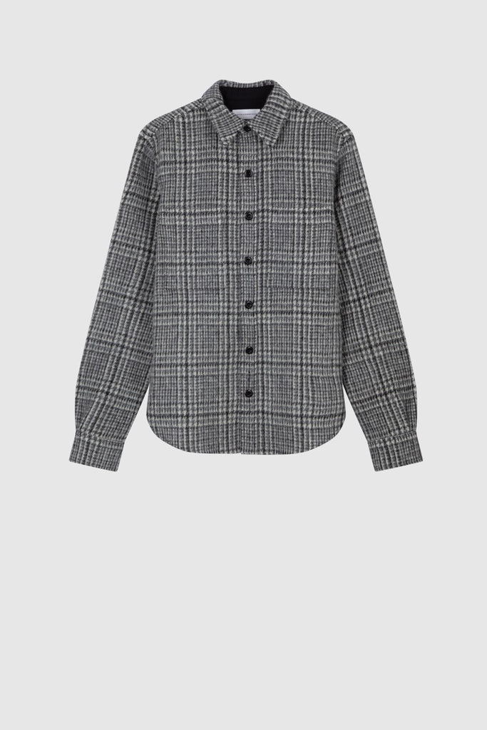 OVERSIZED TWEED SHIRT JACKET - Light Grey