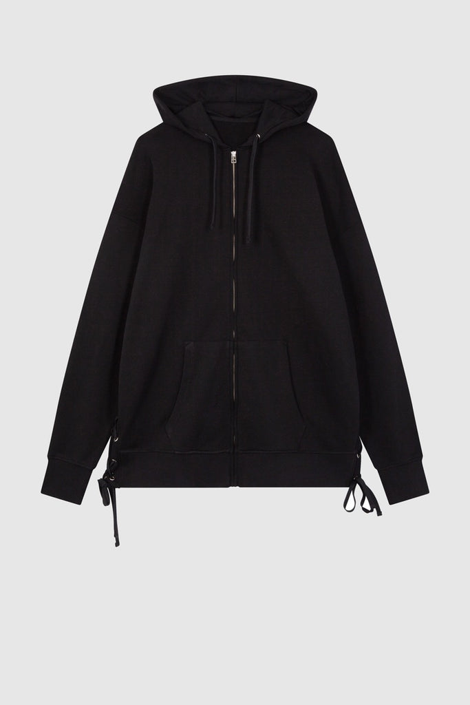 BLACK ZIPPED HOODIE SWEAT