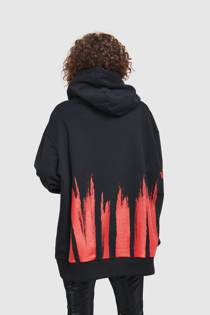 BLACK COTTON PAINTED HOODIE