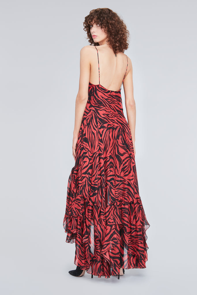 RED ZEBRA PRINT SILK LONG DRESS