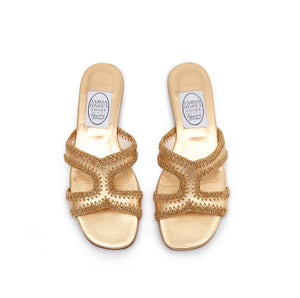 Crochet H Sandal Gold leather