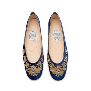 English Rosie Ballet - Navy Gold Velvet