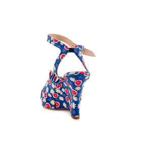 Anna Sui Pleated Ruffle Wedge - Blue White Daisy
