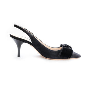 Gros Suede Bow High Sling - Black Suede