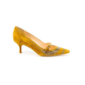 Metal Strass Mary Jane - Tan Suede