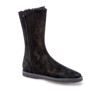 Shearling Mid Boot - Black Suede