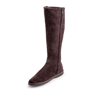 Shearling Buckle Long Boot - Brown Suede