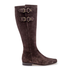Brass Buckle Boot - Brown Suede