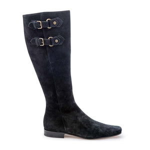 Brass Buckle Boot - Black Suede