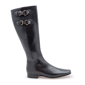 Brass Buckle Boot - Black Calf