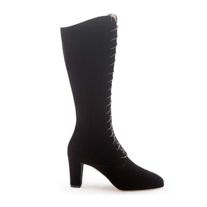 Lace Up Anna Sui Boot - Black Velvet