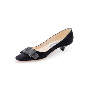 Gros Knot Low Court - Black Suede