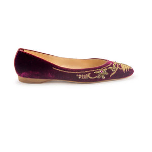 English Rosie Ballet - Bordeaux Gold Velvet