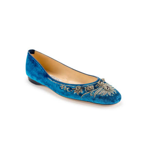 English Rosie Ballet- Light Blue Silver Velvet