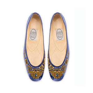 English Rosie Ballet - Inky Blue Gold Velvet