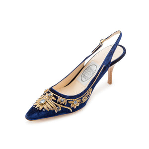 English Rosie High Sling - Navy Gold Velvet