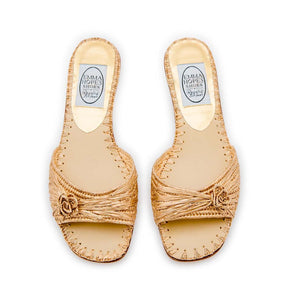 Raffia Flower Open Flat Mule - Gold