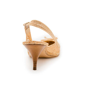 Raffia Mesh Pointy Sling - Natural