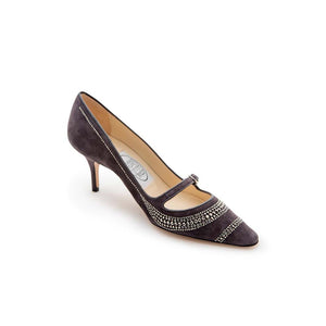 Metal Strass Mary Jane - Charcoal Suede