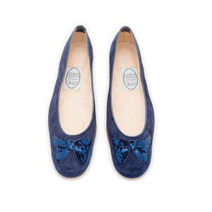 Minnie Bow Ballet - Navy Suede