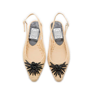Raffia Flower Pointy Low Sling - Natural/Black
