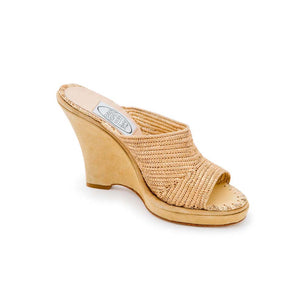 Raffia Wedge Mule - Gold