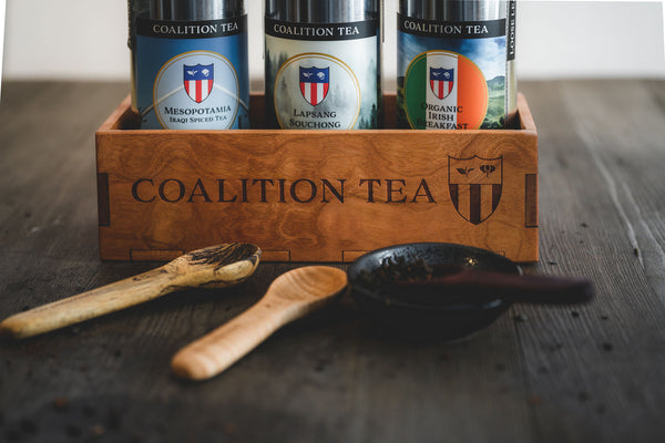 Coalition Tea Tins, Tea Gift Box and hand carved tea spoons