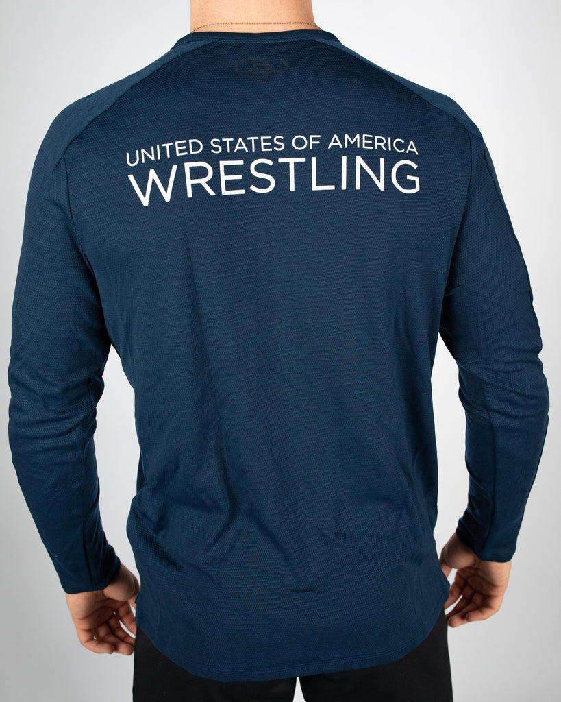 Under Armour Wrestling Men's Navy US Flag Lighter Longer Crew