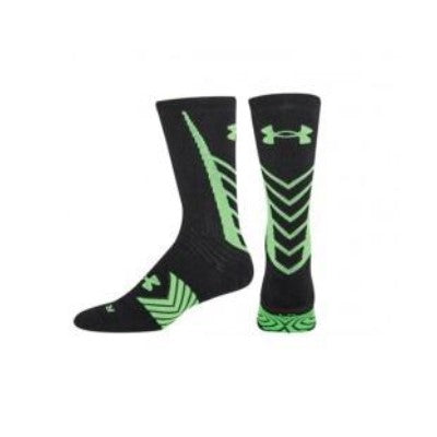 Under Armour Wrestling Men's Black/Neon Green UA Undeniable Crew Socks