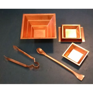 "5 piece copper set with 10"" spoon"