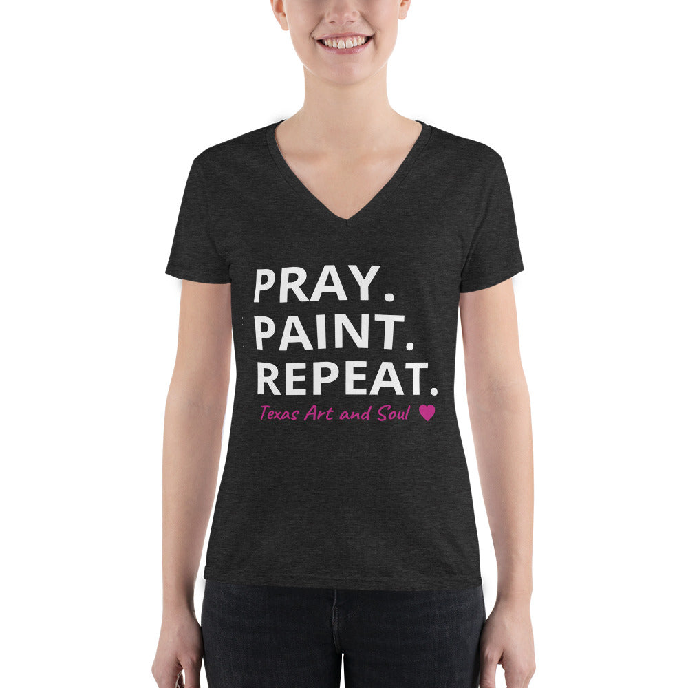 PRAY. PAINT. REPEAT. Women's Fashion Deep V-neck Tee
