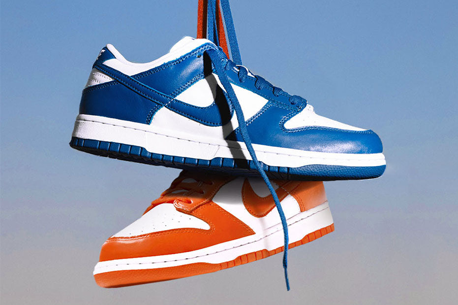 "Nike Dunk Low ""Orange Blaze"" and ""Varsity Royal"" Release Mechanics"
