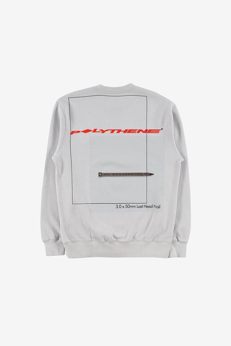 Polythene Optics Apparel Graphical Nails Sweatshirt Grey