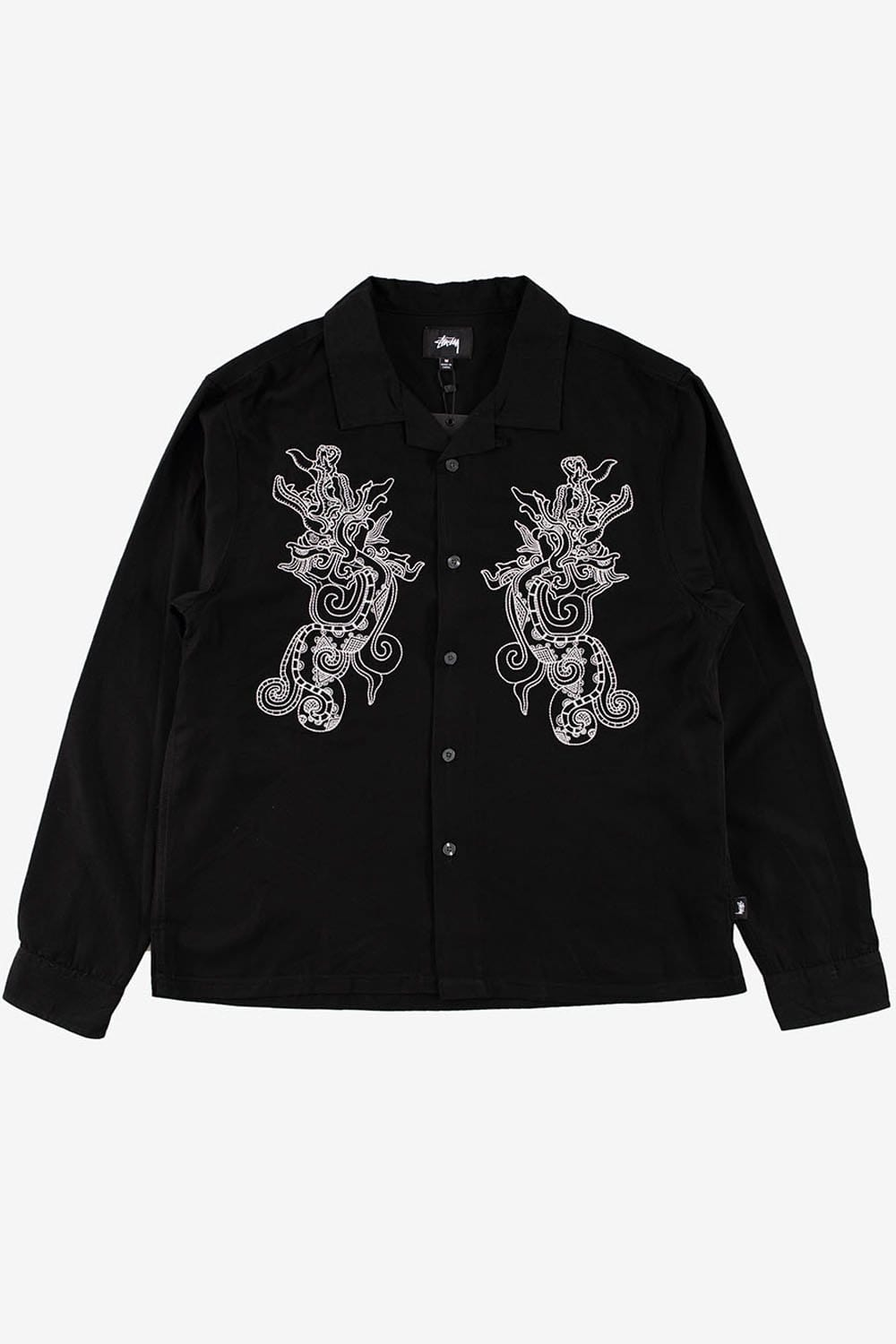 Stussy Apparel Embroidered Dragon Long Sleeve Shirt