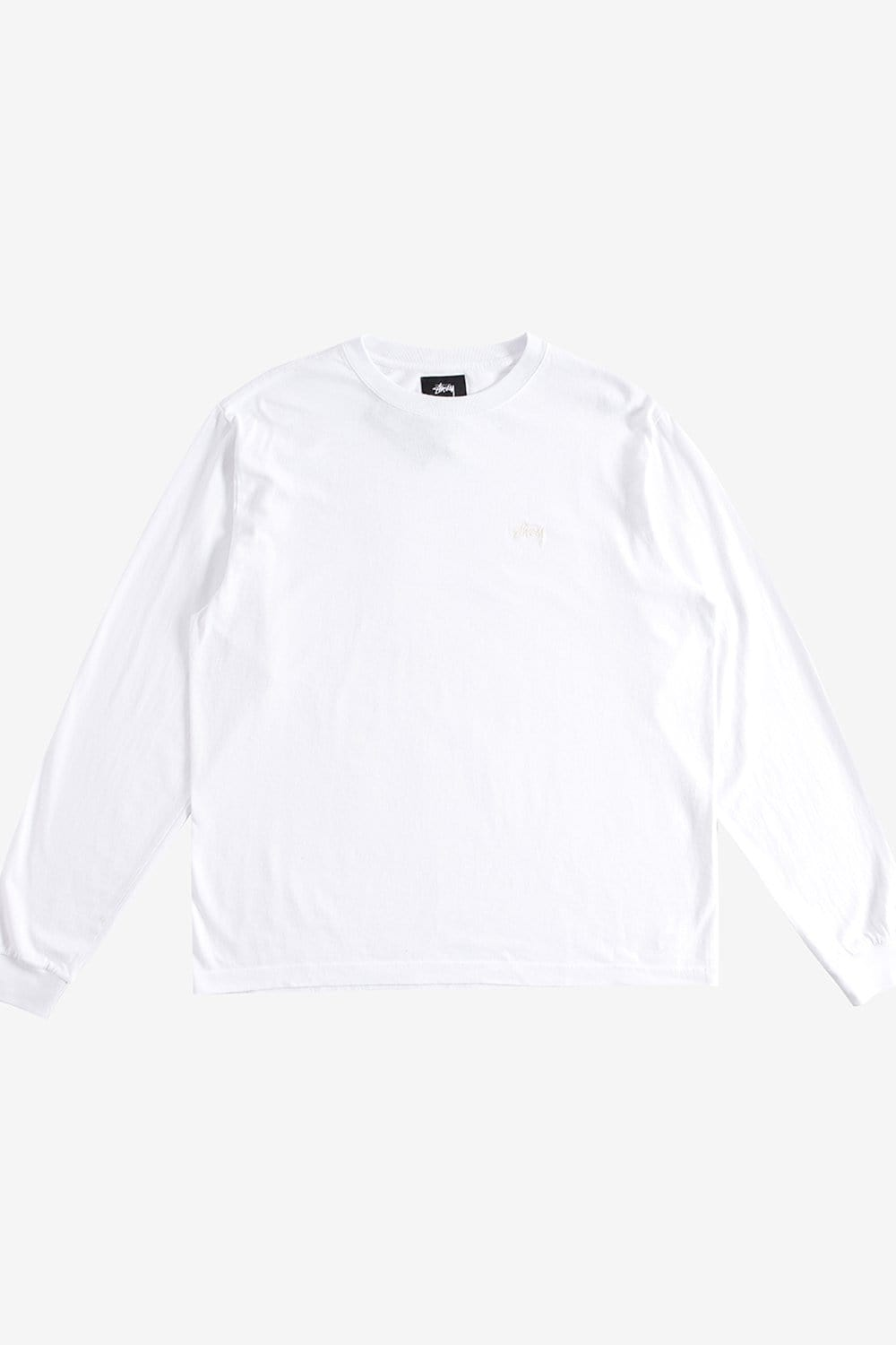 Stussy Apparel Stock Logo Long Sleeve Crew White