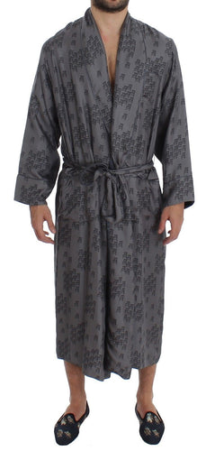 Gray Blue Chair Print SILK Robe Coat Nightgown