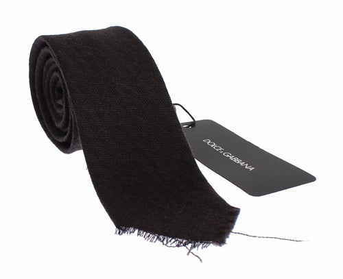 Men Brown Wool Skinny Neck Tie