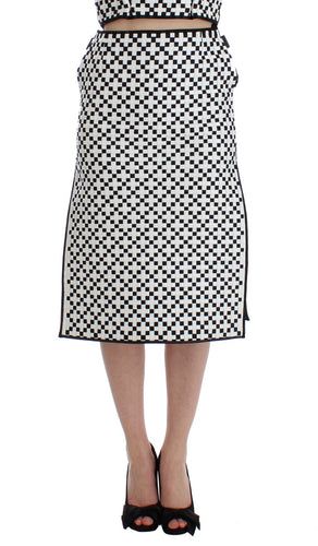 Black White Nappa Leather A-Line Skirt