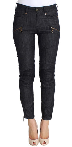 Blue Cropped Cotton Stretch Skinny Slim Fit Jeans