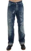 Load image into Gallery viewer, Blue Wash Torn Denim Cotton Regular Fit Jeans