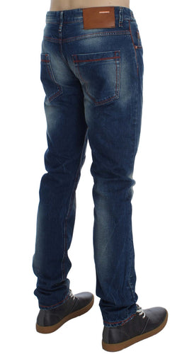 Blue Wash Cotton Denim Slim Fit Jeans