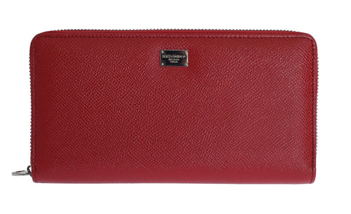 Red Leather Dauphine Continental Wallet