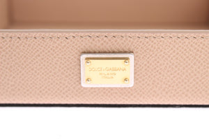 Beige Dauphine Leather Key Tray