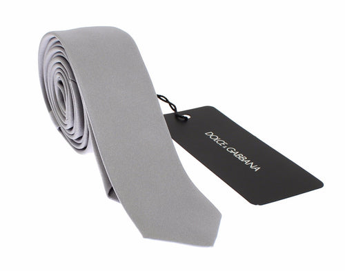 Silver Gray Solid Silk Slim Tie