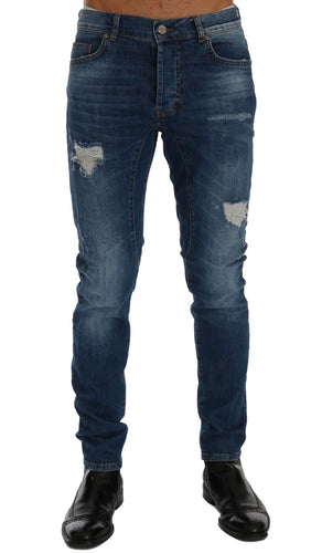 Blue Wash Torn Dundee Slim Fit Jeans