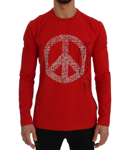 Red Motive Print Cotton T-Shirt