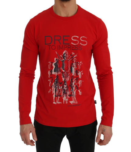 Red Motive Print Cotton Stretch T-Shirt